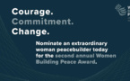 Le U.S. Institute of Peace ouvre les candidatures pour l'édition 2021 du Women Building Peace Award
