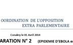 Guinée/Ebola : La coordination de l'opposition extra-parlementaire rappelle les devoirs de l'Etat