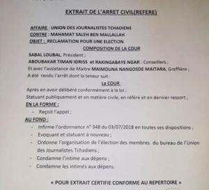 Tchad - UJT c/Mahamat Saleh Ben M., la Cour d'appel tranche l'affaire