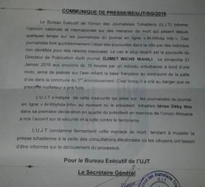 Tchad : L'UJT dénonce et condamne les menaces de mort sur des journalistes