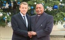 Les présidents Sassou N'Guesso et Emmanuel Macron.